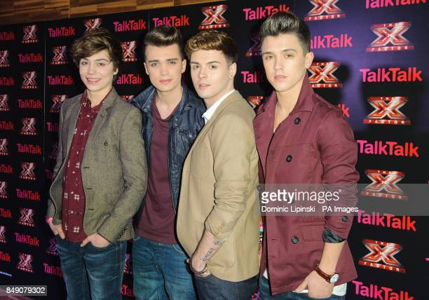 X Factor finalists Union J George Shelley Josh Cuthbert Jaymi Hensley and Jamie Hamblett at a photocall before the X Factor secret gig at Talk Talk...