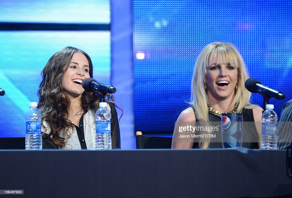 X Factor Judge Britney Spears (R) and contestant Carly Rose Sonenclar attend Fox's 'The X Factor' season finale news conference at CBS Television City on December 17, 2012 in Los Angeles, California.