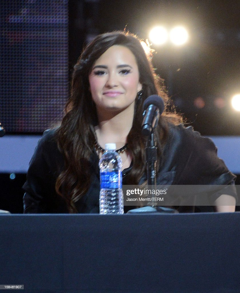 X Factor Judge <a gi-track='captionPersonalityLinkClicked' href=/galleries/search?phrase=Demi+Lovato&family=editorial&specificpeople=4897002 ng-click='$event.stopPropagation()'>Demi Lovato</a> attends Fox's 'The X Factor' season finale news conference at CBS Television City on December 17, 2012 in Los Angeles, California.