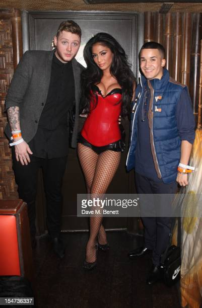 X Factor Judge Nicole Scherzinger with X Factor Contestants Jahmene Douglas and James Arthur attend X Factor Contestant Rylan Clark's Birthday at...
