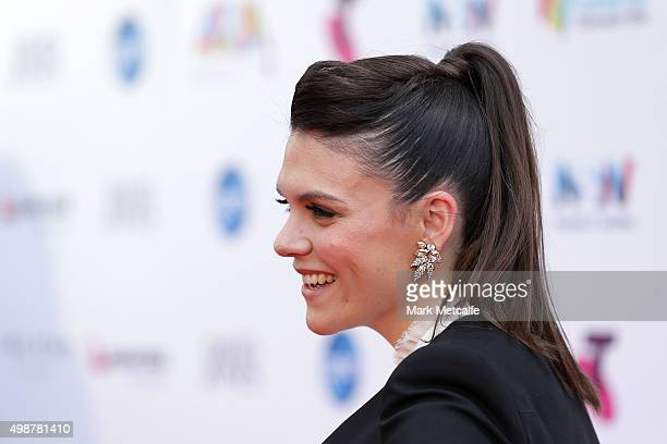 Factor runner up Louise Adams arrives for the 29th Annual ARIA Awards 2015 at The Star on November 26 2015 in Sydney Australia