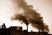 Air pollution by industrial smoke.