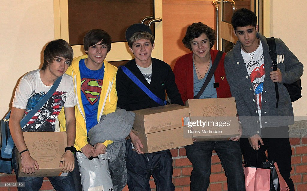 Factor's boy band One Direction are seen at the 'X Factor' studio for the live filming of the show on October 31 2010 in London England
