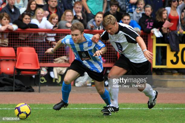 X Factors' Jeff Brazier and The Sun's Olly Murs in action during the Soccer Six football Tournament