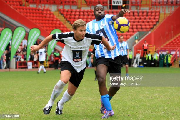 X Factors' Jeff Brazier in action during the Soccer Six football Tournament