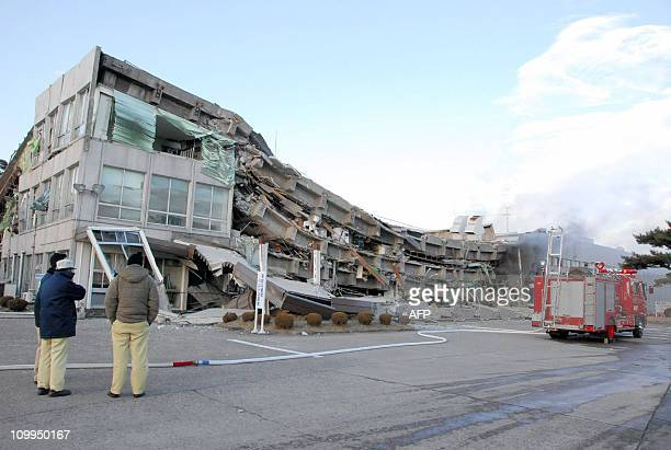 A factory building has collapsed in Sukagawa city Fukushima prefecture in northern Japan on March 11 2011 A massive 89magnitude earthquake shook...
