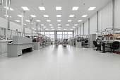 Clean production room. Manufacture of industrial electronics. Shop assembly of electronic components.