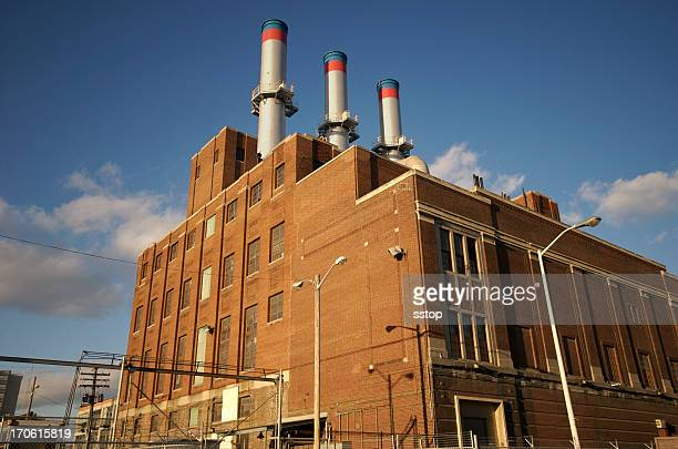 Factory from a low angle, geometric
