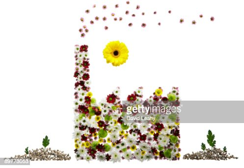 A factory made out of flowers : Stock Photo