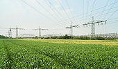 Factory power lines over fields