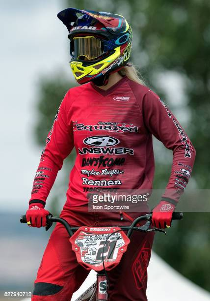 Factory Ssquared's Elite racer Lauren Reynolds looks on before the USA BMX Mile High Nationals on August 5 at Grand Valley BMX in Grand Junction CO...