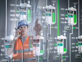 Factory supervisor monitoring product levels on interactive display