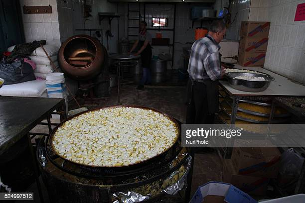 Factory to prepare Kunafa in the old town of Nablus city of the West Bank on May 31 2015 Nablus city northern of the Palestinian territories of the...