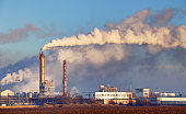 Factory with air pollution.