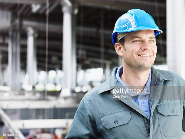 Factory working in hard-hat