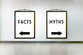 Facts or Myths Concept  , Two white billboards on the wall in Shopping Mall