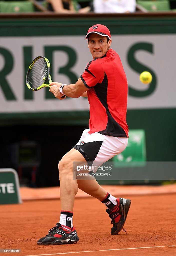<a gi-track='captionPersonalityLinkClicked' href=/galleries/search?phrase=Facundo+Bagnis&family=editorial&specificpeople=7791777 ng-click='$event.stopPropagation()'>Facundo Bagnis</a> of Argentina hits a backhand during the Men's Singles second round match against Rafael Nadal of Spain on day five of the 2016 French Open at Roland Garros on May 26, 2016 in Paris, France.