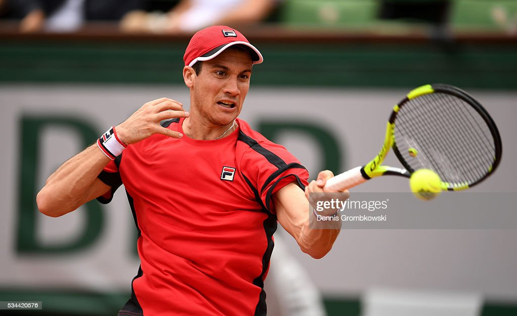 <a gi-track='captionPersonalityLinkClicked' href=/galleries/search?phrase=Facundo+Bagnis&family=editorial&specificpeople=7791777 ng-click='$event.stopPropagation()'>Facundo Bagnis</a> of Argentina hits a forehand during the Men's Singles second round match against Rafael Nadal of Spain on day five of the 2016 French Open at Roland Garros on May 26, 2016 in Paris, France.