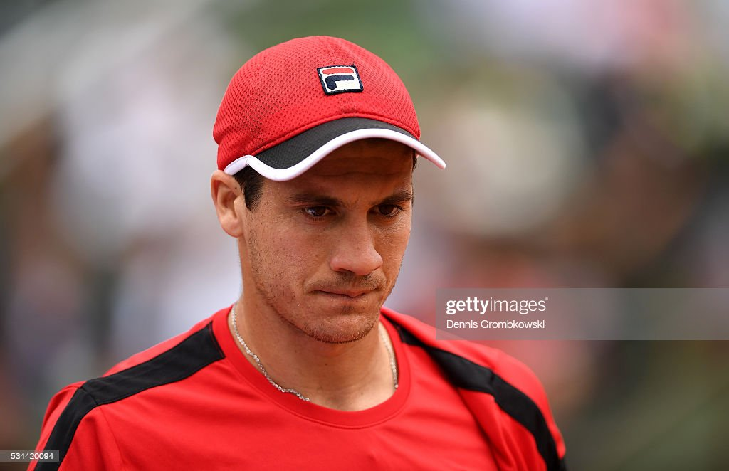 <a gi-track='captionPersonalityLinkClicked' href=/galleries/search?phrase=Facundo+Bagnis&family=editorial&specificpeople=7791777 ng-click='$event.stopPropagation()'>Facundo Bagnis</a> of Argentina reacts during the Men's Singles second round match against Rafael Nadal of Spain on day five of the 2016 French Open at Roland Garros on May 26, 2016 in Paris, France.