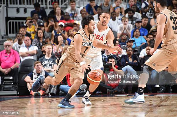 Facundo Campazzo of Argentina handles the ball against Klay Thompson of the USA Basketball Men's National Team on July 22 2016 at TMobile Arena in...