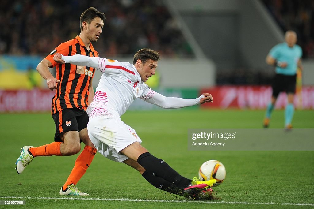 Facundo Ferreira of Shakhtar Donetsk (L) competes for the ball with Grzegorz Krychowiak (R) of Sevilla FC during the UEFA Europa League Semi-finals soccer match between Shakhtar Donetsk and Sevilla FC at Lviv Arena stadium on April 28, 2016, in Lviv, Ukraine.