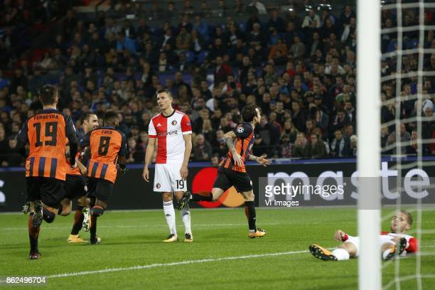 Facundo Ferreyra of FC Shakhtar Donesk Fred of FC Shakhtar Donesk Steven Berghuis of Feyenoord Bernhard of FC Shakhtar Donesk during the UEFA...