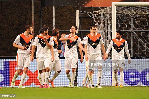Facundo Ferreyra of Shakhtar Donetsk celebrates after scoring a goal during the UEFA Europa League Quarter Final first leg match between SC Braga and...