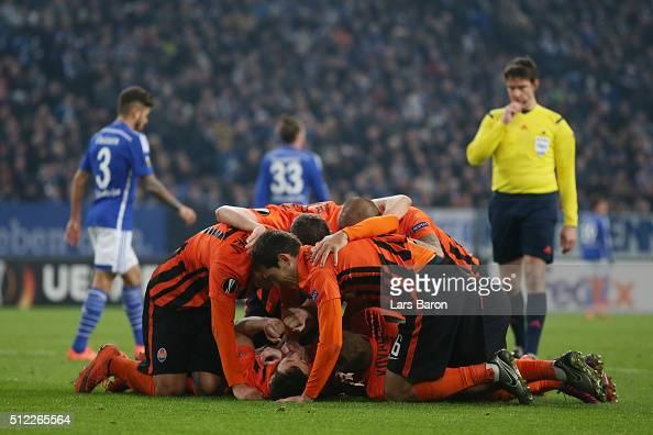 Facundo Ferreyra of Shakhtar Donetsk celebrates scoring his team's second goal with his team mates during the UEFA Europa League round of 32 second...