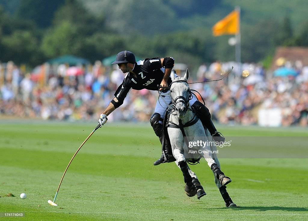 Facundo Pieres of Zacara attacks during the The Veuve Clicquot Gold Cup for the British Open Polo Championship Final between Dubai and Zacara at Cowdray Park Polo Club on July 21, 2013 in Midhurst, England.
