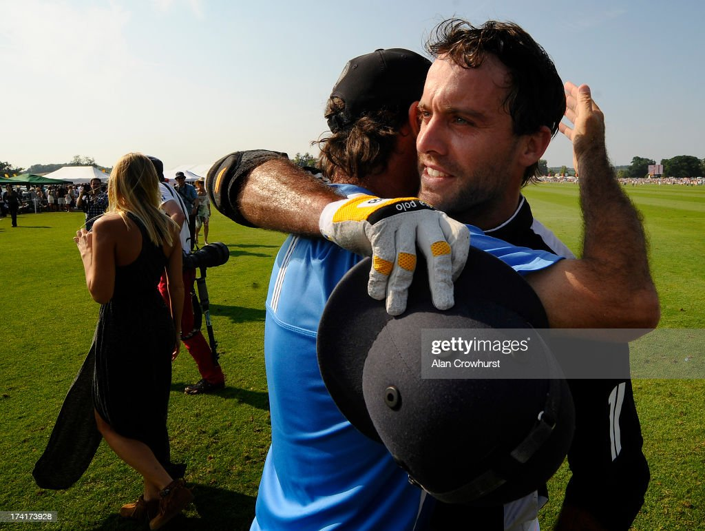 Facundo Pieres of Zacara celebrates victory during the The Veuve Clicquot Gold Cup for the British Open Polo Championship Final between Dubai and Zacara at Cowdray Park Polo Club on July 21, 2013 in Midhurst, England.