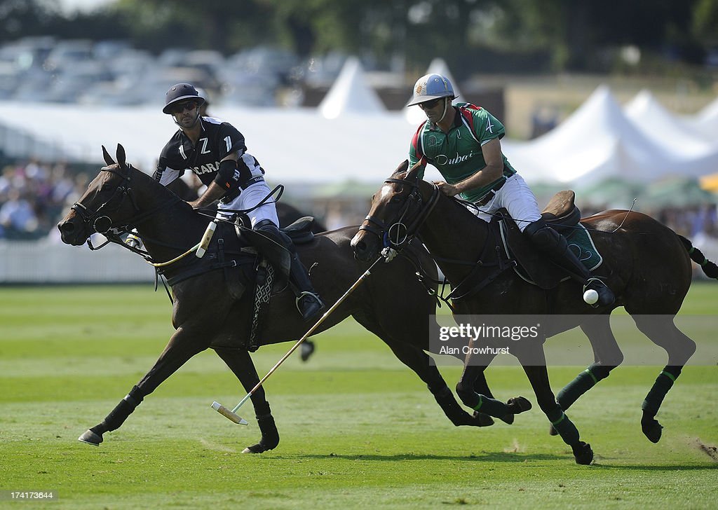 Facundo Pieres (L) of Zacara scores during the The Veuve Clicquot Gold Cup for the British Open Polo Championship Final between Dubai and Zacara at Cowdray Park Polo Club on July 21, 2013 in Midhurst, England.