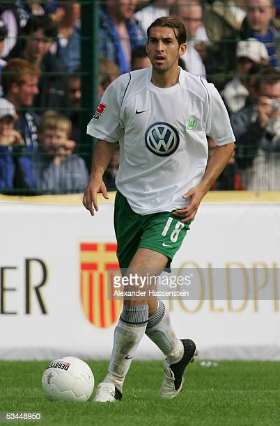 Facundo Quiroga of Wolfsburg in action during the DFB German Cup match between SC Paderborn and VFL Wolfsburg at the Hermann Loens Stadium on August...