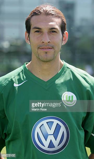 Facundo Quiroga poses during the team presentation of VFL Wolfsburg for the Bundesliga Season 2005 2006 on July 10 2005 in Wolfsburg Germany