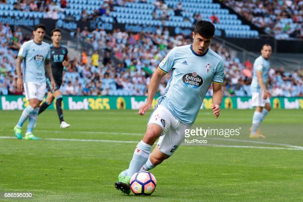 Facundo Roncaglia defender of Celta de Vigo drives the ball during the La Liga Santander match between Celta de Vigo and Real Sociedad de Futbol at...