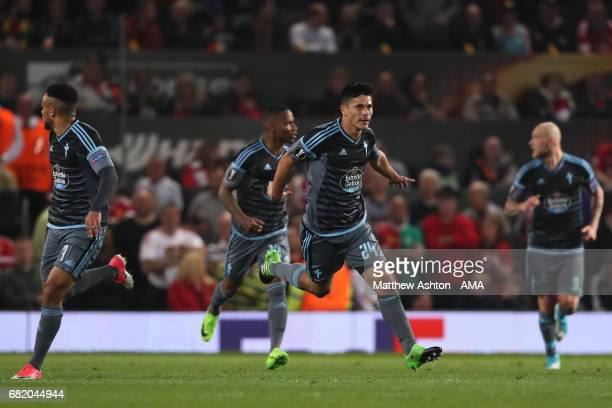 Facundo Roncaglia of Celta Vigo celebrates scoring a goal to make the score 11 during the UEFA Europa League semi final second leg match between...