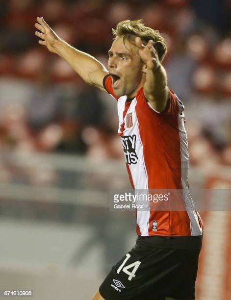 Facundo Sanchez of Estudiantes celebrates after scoring the first goal of his team during a match between Independiente and Atletico de Rafaela as...