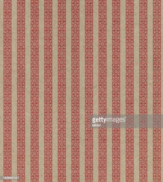 faded brown and red striped paper