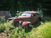 Forgotten red 1939 Chevy Master Deluxe faded and rusting away in the weeds