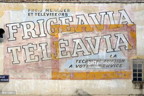 Faded Old or Vintage Painted Wall Advert Valensole Provence