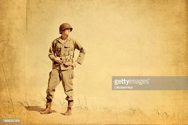 Délavé photo de la Seconde Guerre mondiale Infantryman américain