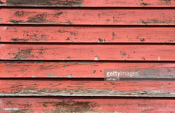 Faded Red House Siding, Close Up