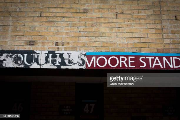 A faded sign on the exterior of the Booby Moore Stand formerly the South Stand at the Boleyn Ground before West Ham United hosted Crystal Palace in a...
