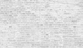 Faded white brick wall background with copy space.