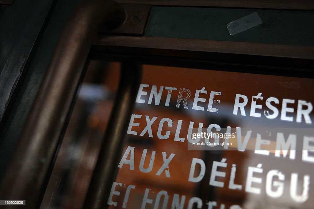 A fading sign is marked on a Geneva's Palais des Nations door on January 12, 2012 in Geneva, Switzerland. The European Headquarters of the United Nations, with its oldest sections built between 1929 and 1938 and originally known as the League of Nations, is studying the work requested for the complex restoration to upgrade its infrastructure and lower its carbon footprint while maintaining its historical and cultural value. The work, which would not begin for several years, could cost more than USD 1 billion.
