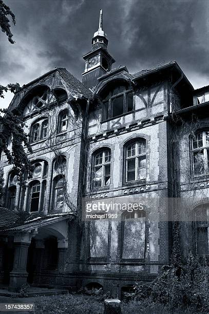 Fae_ade of a large haunted house in gray and blue tones