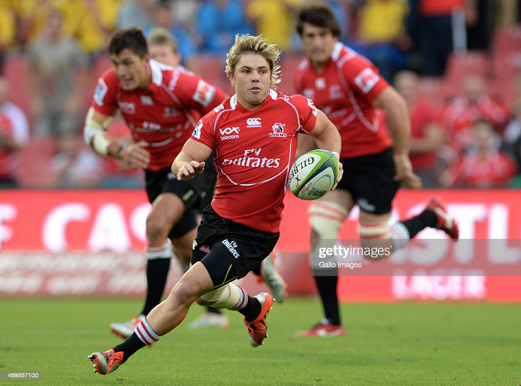 Faf de Klerk of the Lions atticks during the Super Rugby match between Emirates Lions and Cell C Sharks at Emirates Airline Park on April 11 2015 in...