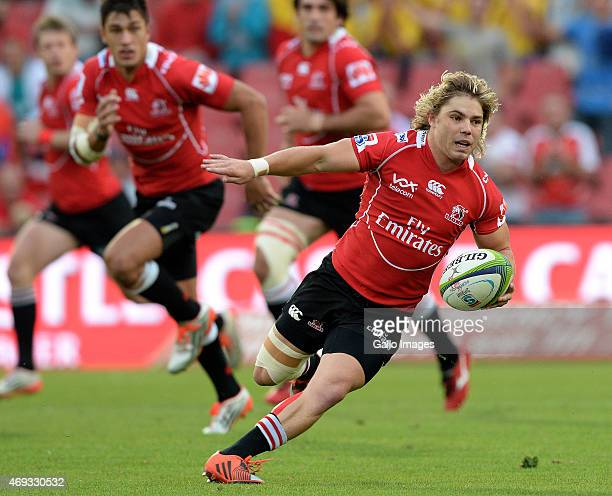 Faf de Klerk of the Lions breaks away during the Super Rugby Round 9 match between Emirates Lions and Cell C Sharks at Emirates Airline Park on April...