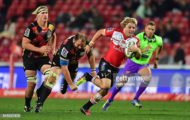 Faf de Klerk of the Lions during the Super Rugby match between Emirates Lions and Southern Kings at Emirates Airline Park on July 08 2016 in...