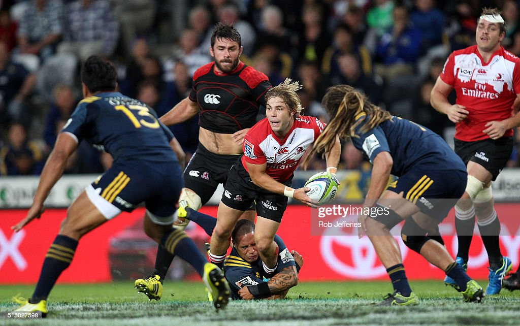 Faf de Klerk of the Lions looks to pass during the round three Super Rugby match between the Highlanders and the Lions at Rugby Park on March 12, 2016 in Dunedin, New Zealand.