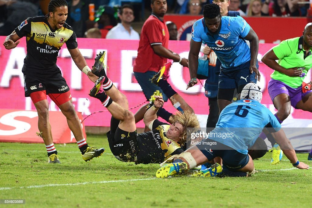 Faf De Klerk of the Lions scores during the Super Rugby match between the Vodacom Bulls and Emirates Lions at Lotus Versfeld Stadium on May 28, 2016 in Pretoria, South Africa.